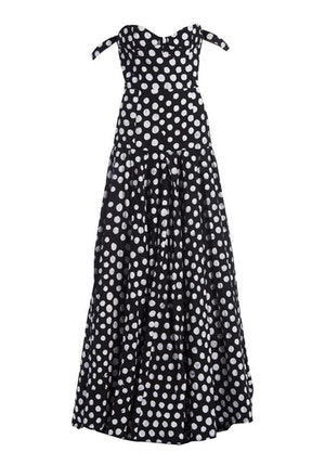 Black and White Polka Dots Cotton Hand-Batik Evening Gown by Studio 189 - 2