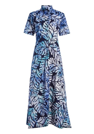 Navy & Blue Big Leaf Cotton Hand-Batik Regular Collar Short Sleeve Shirt Dress by Studio 189 - 1
