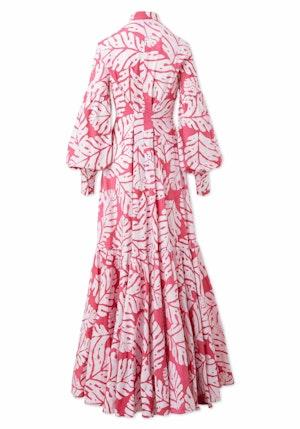 Pink and White Big Leaf Cotton Hand-Batik Blouson Sleeve Long Shirt Dress by Studio 189 - 2