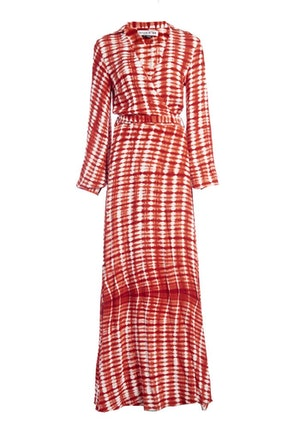 Red Ayumi Rayon Hand-Batik Blouson Sleeve Wrap Dress by Studio 189 - 1