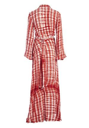 Red Ayumi Rayon Hand-Batik Blouson Sleeve Wrap Dress by Studio 189 - 2