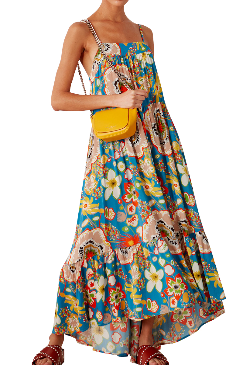 Pumpa Layered Tank Dress in Blue Floral Print by Simon Miller - 1
