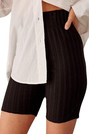 RIB Burr Shorts in Black by Simon Miller - 1