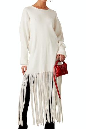 Evita Fringe Sweater Dress in White by Simon Miller - 1