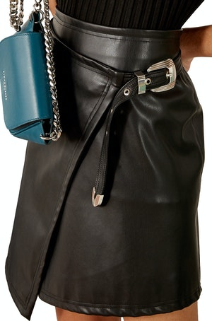 VEGAN Zamora Wrap Skirt in Black by Simon Miller - 1