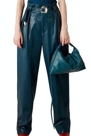 VEGAN Barr Sack Waist Trouser in Octane Teal by Simon Miller - 1