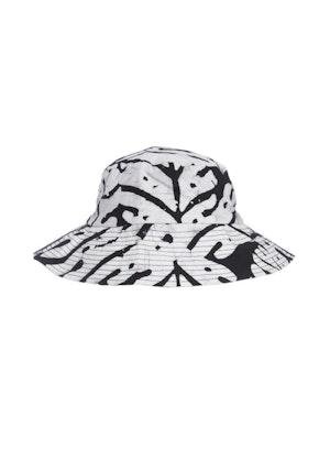Black And White Big Leaf Cotton Hand-Batik Small Hat by Studio 189 - 1