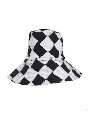 Black And White Crossroads Cotton Hand-Batik Medium Hat by Studio 189 - 1
