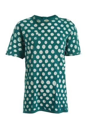Green and White Polka Dots Cotton Hand-Batik S189 T-shirt by Studio 189 - 1