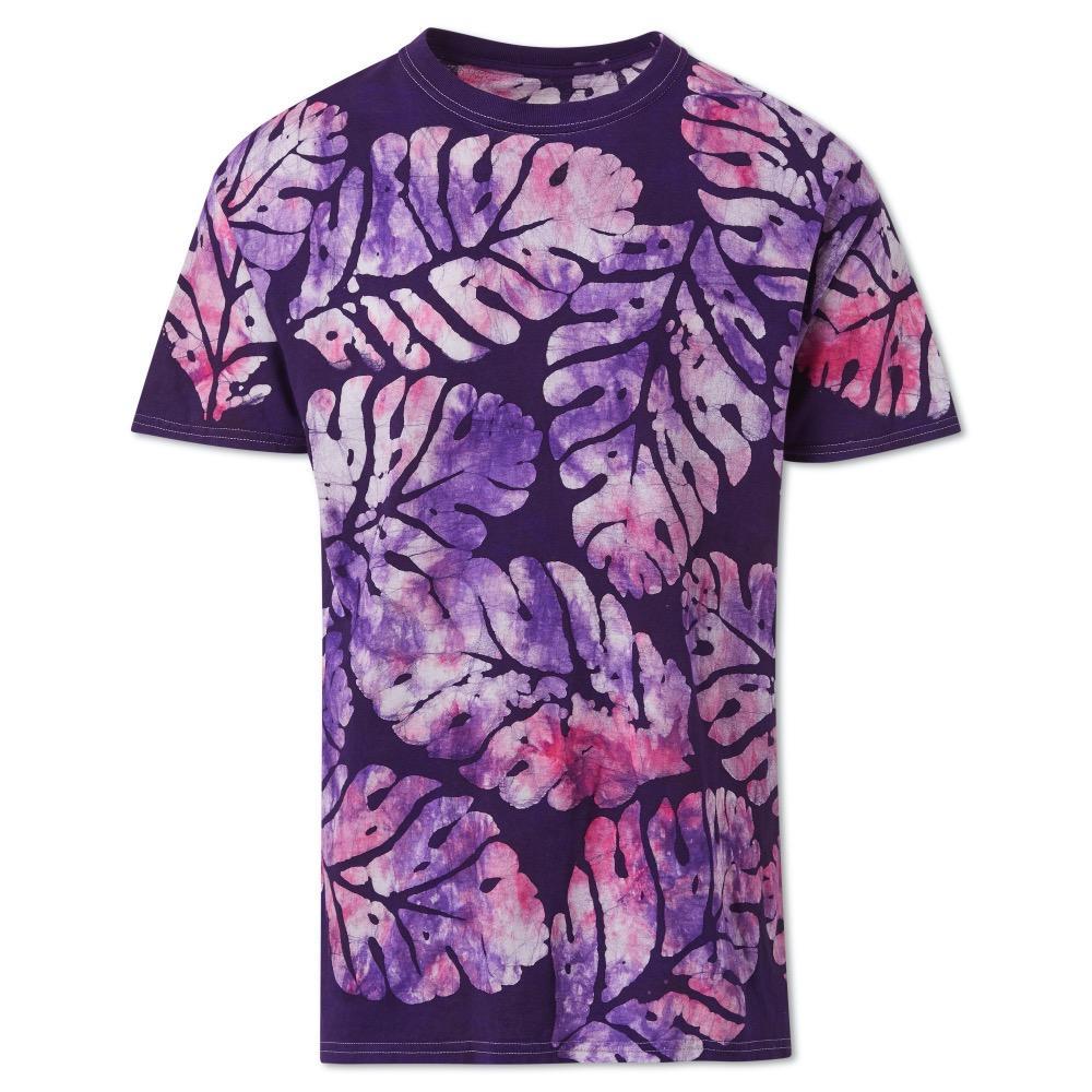 Violet Big Leaf Cotton Hand-Batik T-Shirt by Studio 189 - 1
