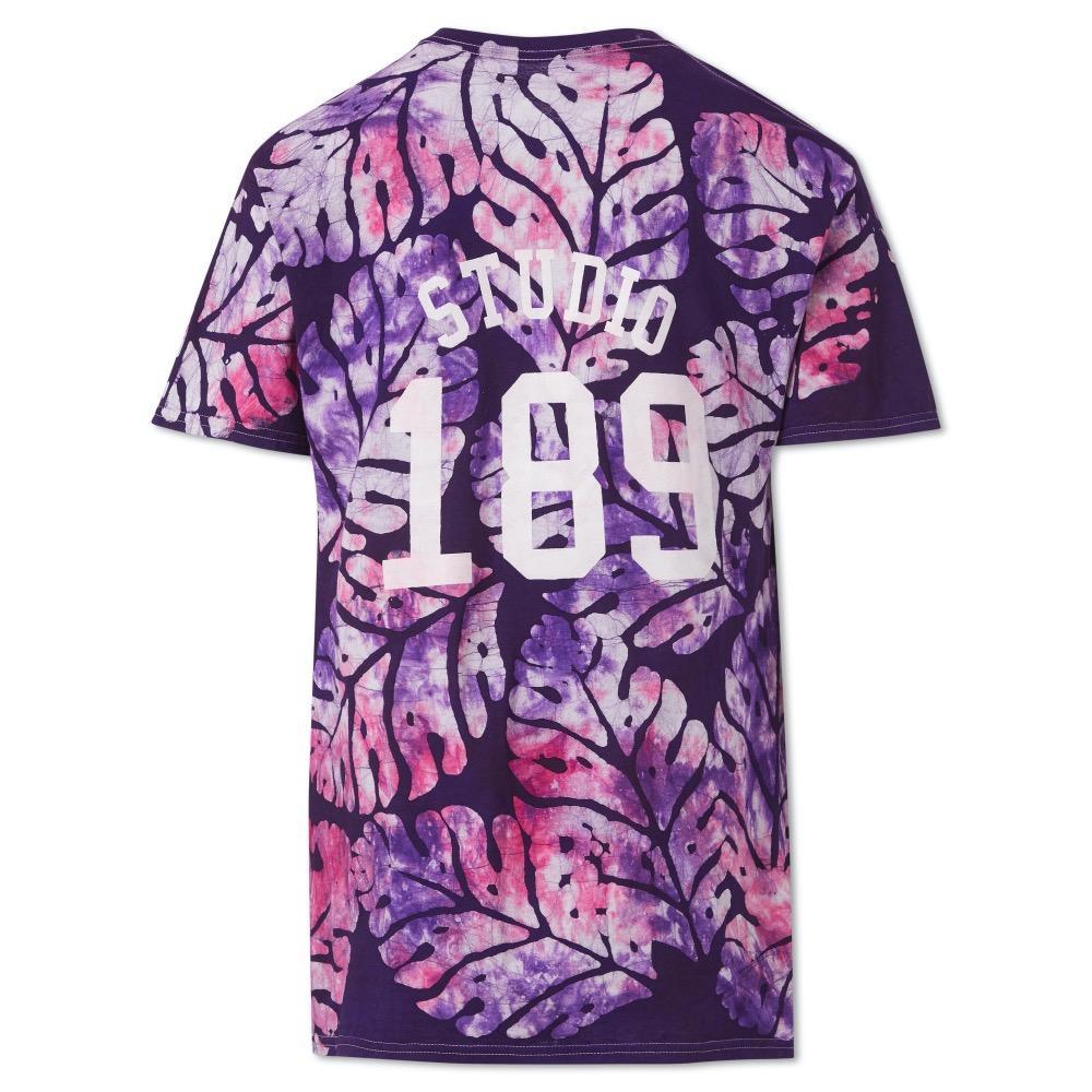 Violet Big Leaf Cotton Hand-Batik T-Shirt by Studio 189 - 2