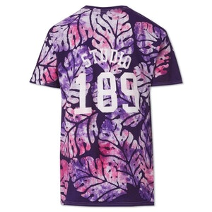 Violet Big Leaf Cotton Hand-Batik T-Shirt by Studio 189 - 2