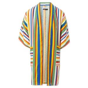 Technicolor Rainbow Striped Silk Dream Midi Kimono by Studio 189 - 1