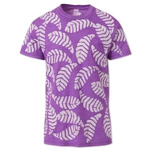 Lilac Small Leaf Cotton Hand-Batik T-Shirt by Studio 189 - 1