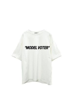 "White Cotton ""Model Voter"" T-Shirt by Studio 189 - 1"