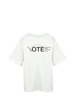 "White Cotton ""Model Voter"" T-Shirt by Studio 189 - 2"