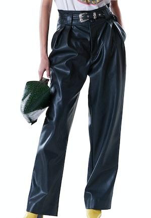 VEGAN Barr Sack Waist Trouser in Black by Simon Miller - 1