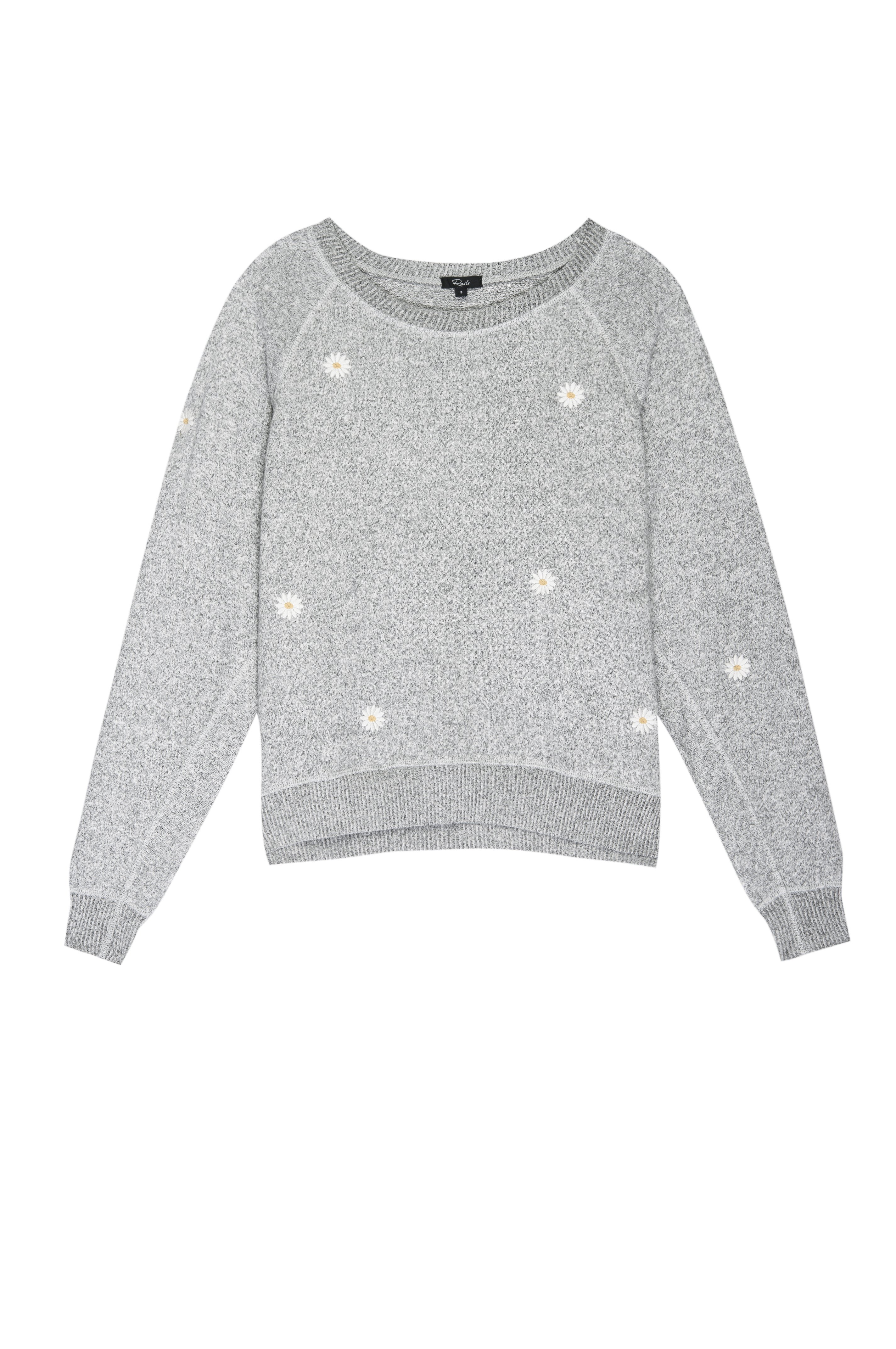THEO - MELANGE GREY DAISY EMBROIDERY by Rails - 1