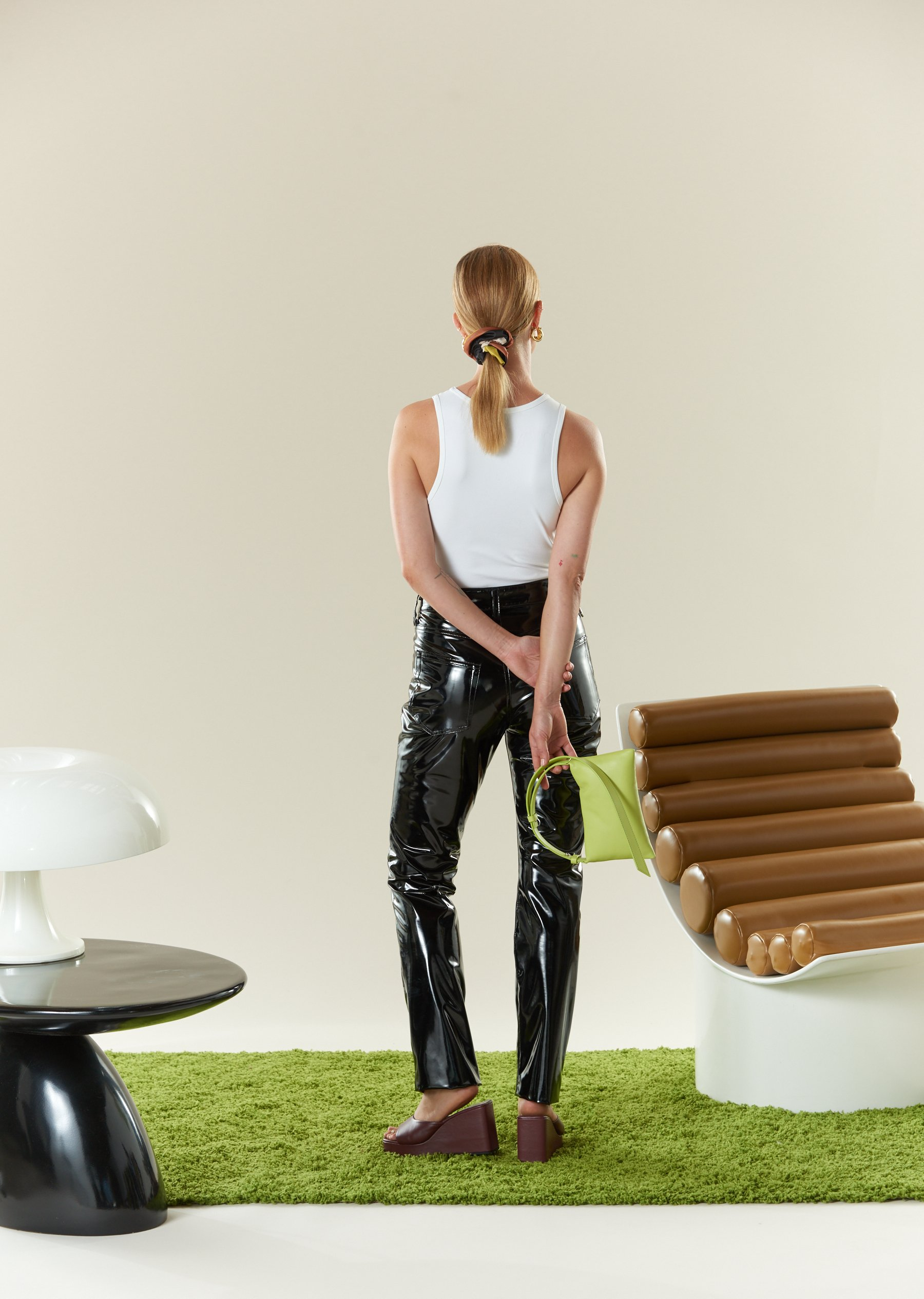 VEGAN LEATHER Straight Leg Pant in Black by Simon Miller - 6