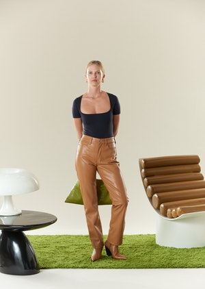 VEGAN LEATHER Straight Leg Pant in Toffee by Simon Miller - 2