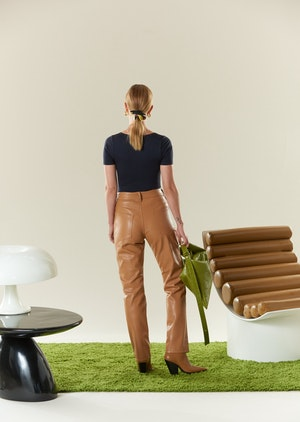 VEGAN LEATHER Straight Leg Pant in Toffee by Simon Miller - 3