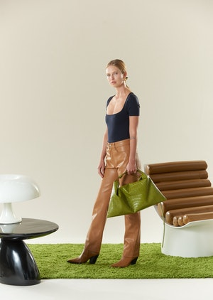 VEGAN LEATHER Straight Leg Pant in Toffee by Simon Miller - 4