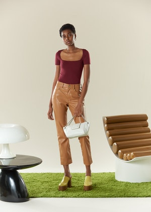 VEGAN LEATHER Straight Leg Pant in Toffee by Simon Miller - 5