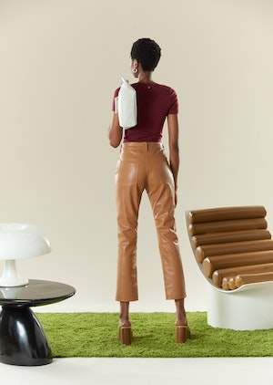VEGAN LEATHER Straight Leg Pant in Toffee by Simon Miller - 7