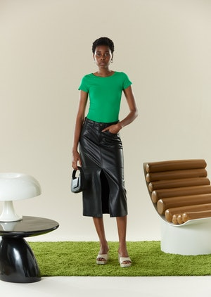 VEGAN LEATHER Kahn Skirt in Black by Simon Miller - 2