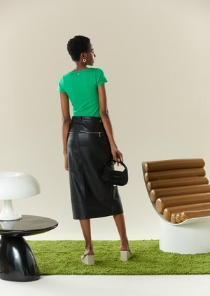 VEGAN LEATHER Kahn Skirt in Black by Simon Miller - 3