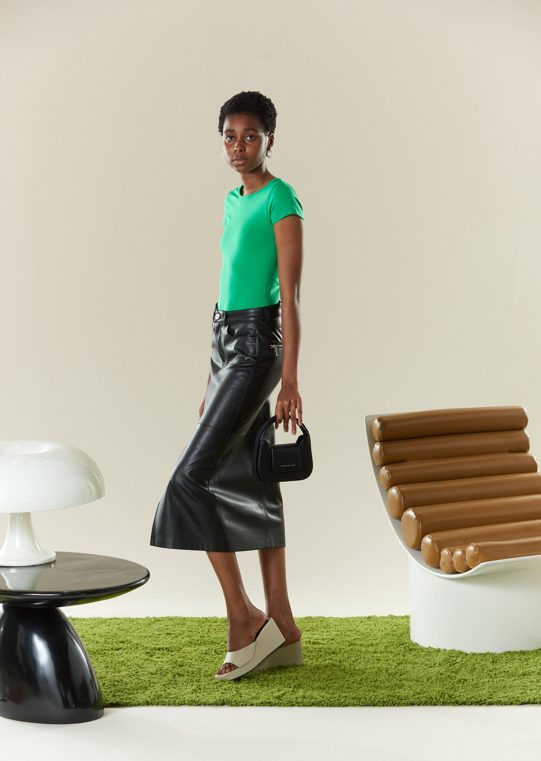 VEGAN LEATHER Kahn Skirt in Black by Simon Miller - 4