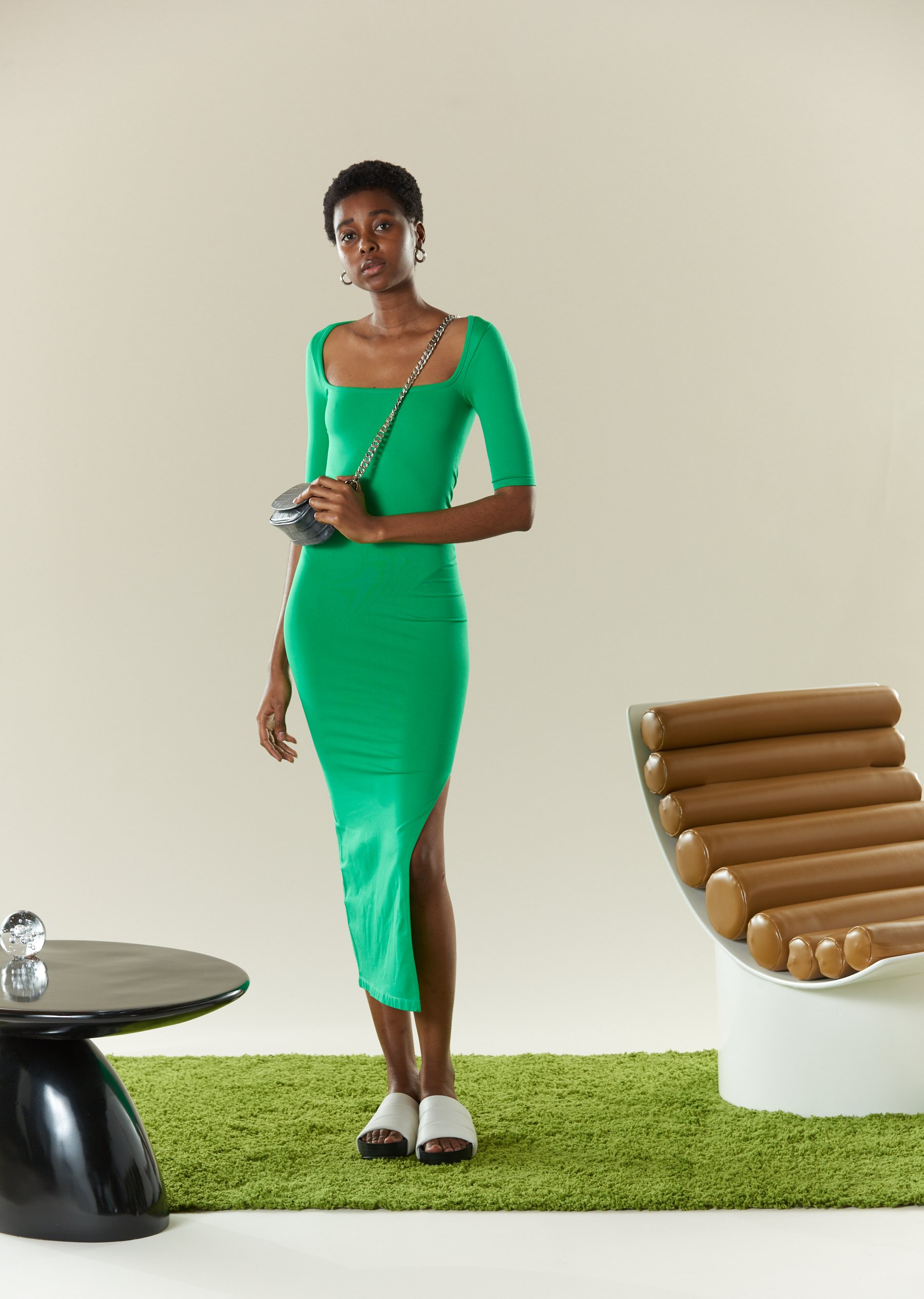 STRETCH Mies Dress in Jungle Green by Simon Miller - 5