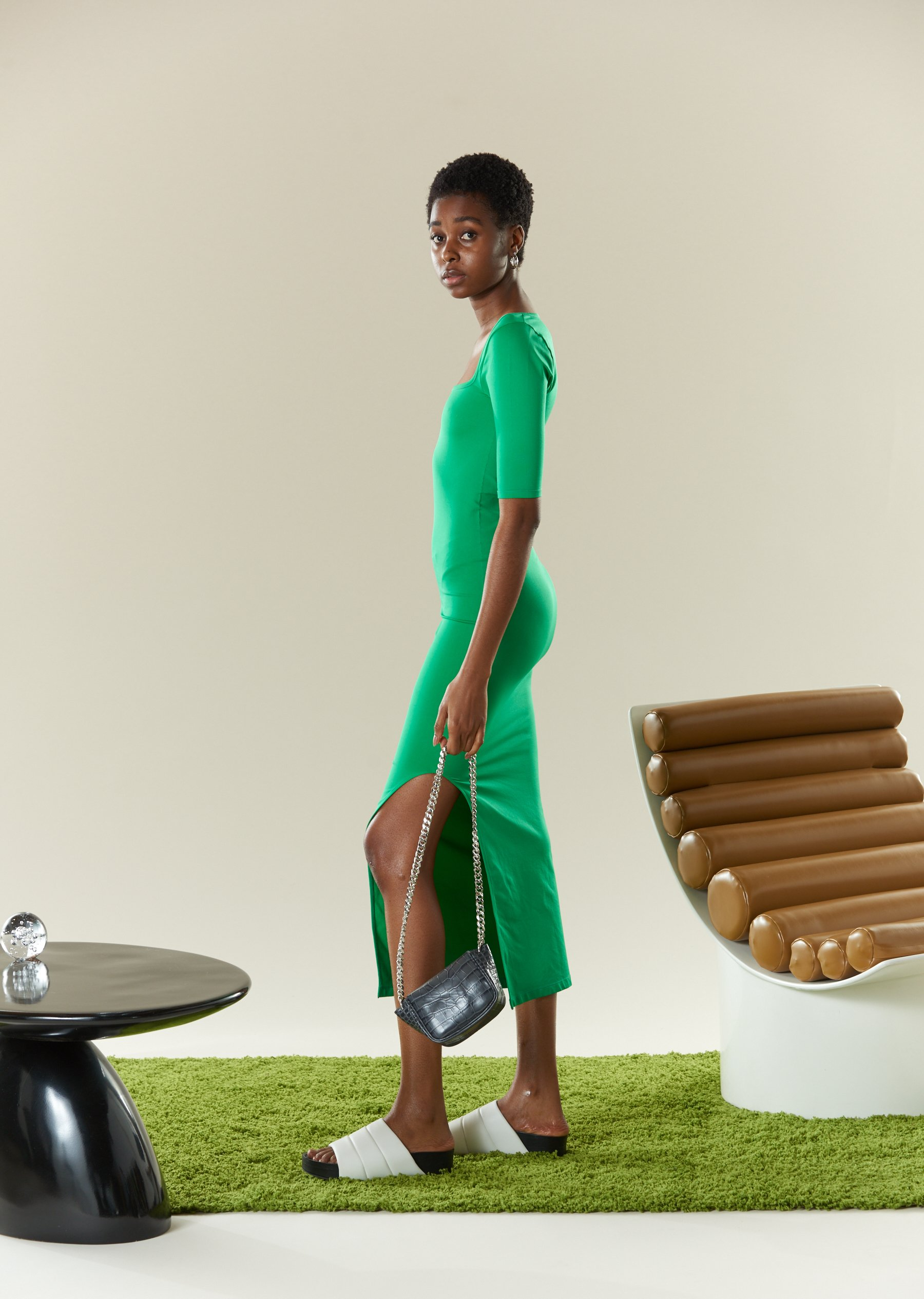 STRETCH Mies Dress in Jungle Green by Simon Miller - 4