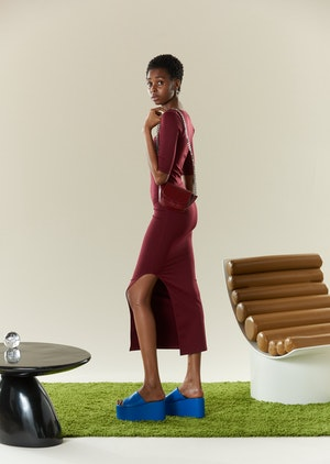 STRETCH Mies Dress in Burgundy by Simon Miller - 4