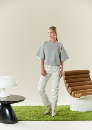 Clio Cropped Teeshirt Sweat in Heather Grey by Simon Miller - 2