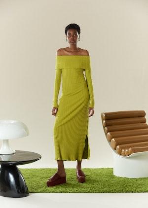 RIB Espen Dress in Celery by Simon Miller - 2