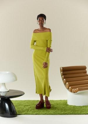 RIB Espen Dress in Celery by Simon Miller - 5