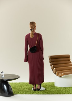 RIB Wells Dress in Burgundy by Simon Miller - 3