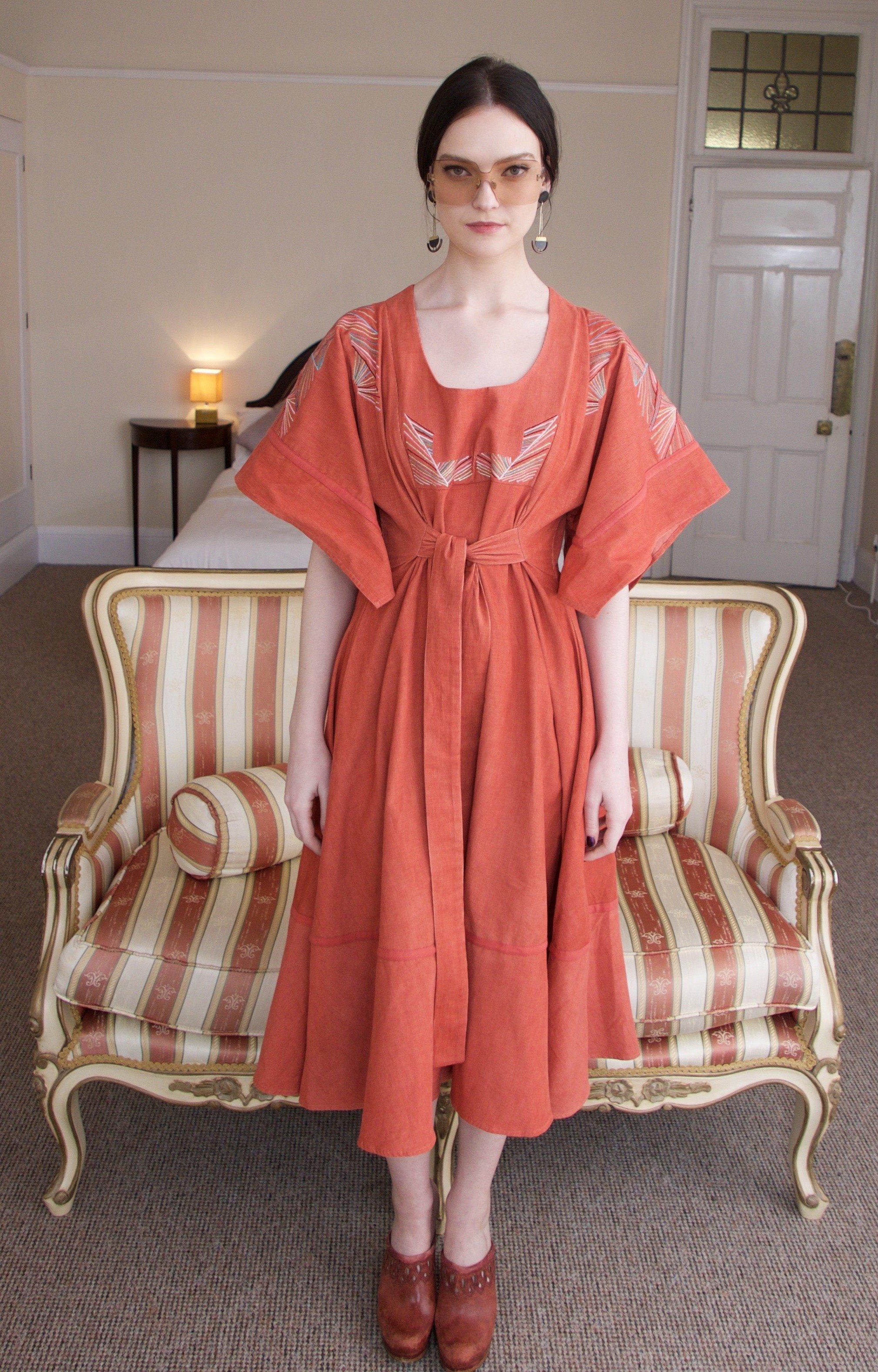 Barbara midi dress Terracotta by Tallulah & Hope - 2