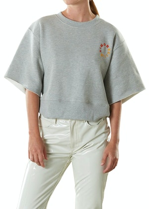 Clio Cropped Teeshirt Sweat in Heather Grey by Simon Miller - 1