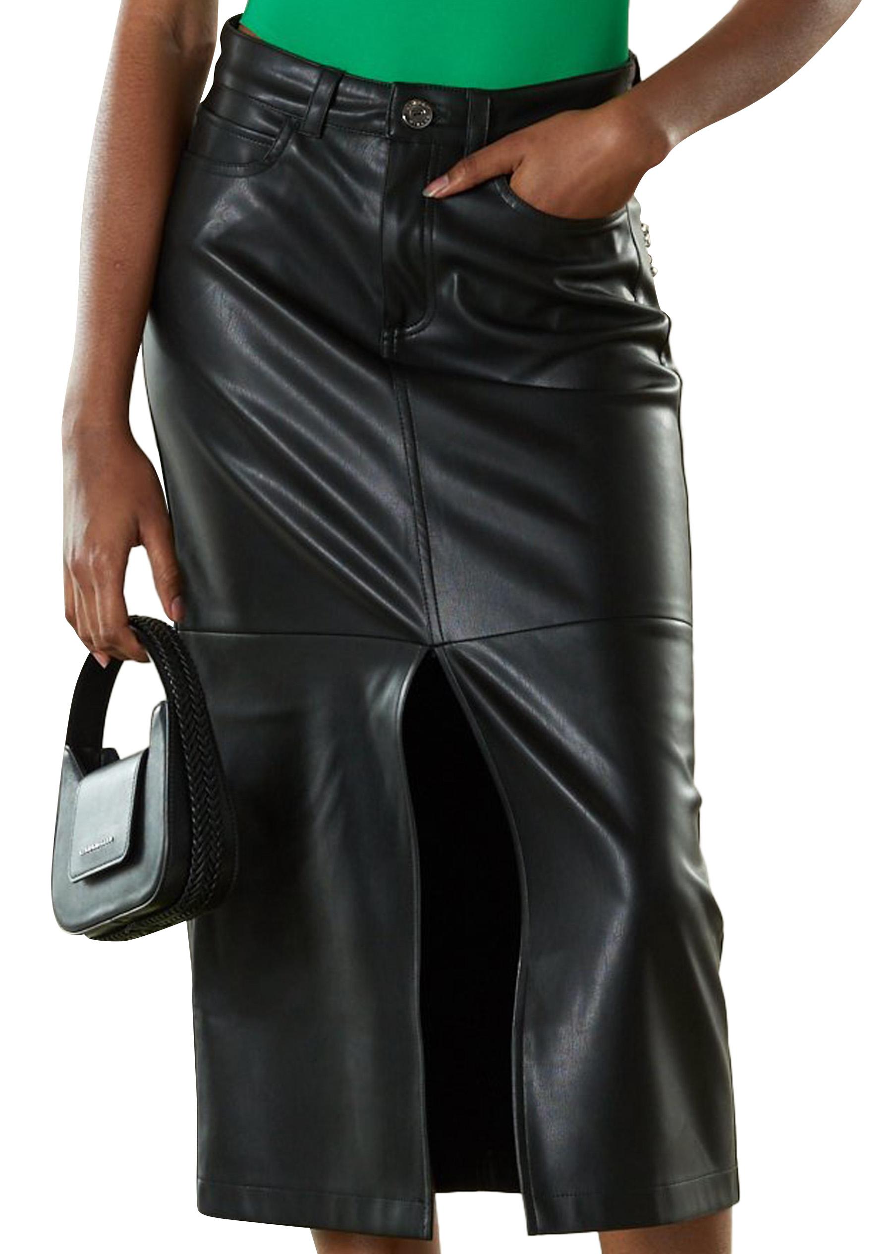 VEGAN LEATHER Kahn Skirt in Black by Simon Miller - 1