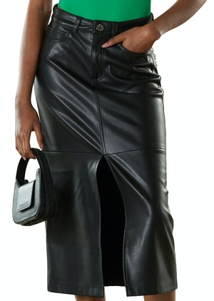 VEGAN LEATHER Kahn Skirt in Black by Simon Miller - 1