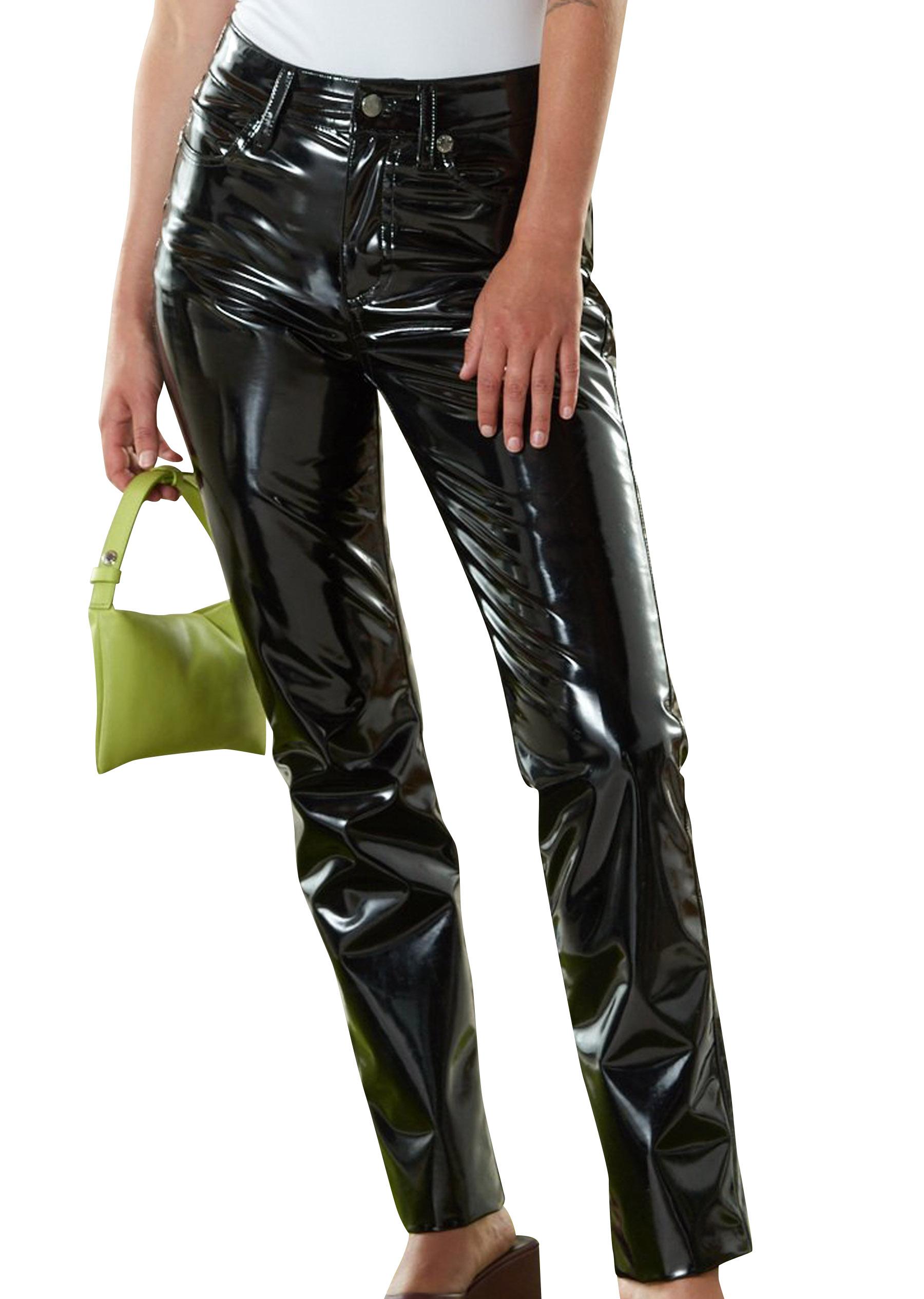 VEGAN LEATHER Straight Leg Pant in Black by Simon Miller - 1