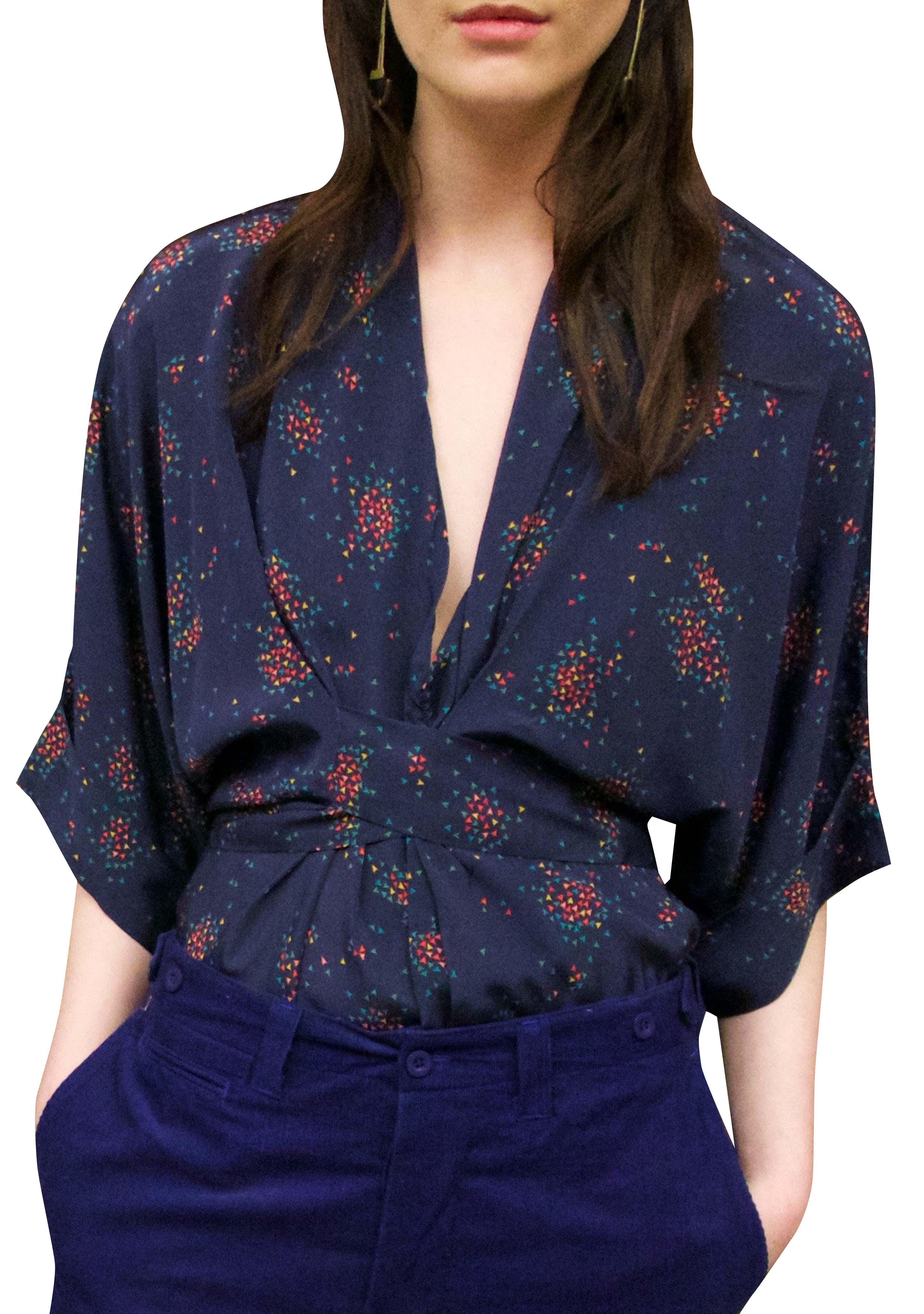Gloria waisted blouse The Sky navy by Tallulah & Hope - 1