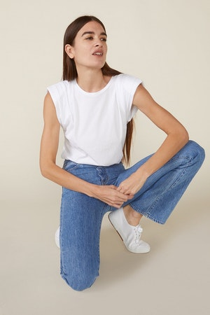ECHO PADDED SHOULDER TEE - WHITE by St. Roche - 2