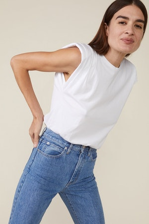 ECHO PADDED SHOULDER TEE - WHITE by St. Roche - 4