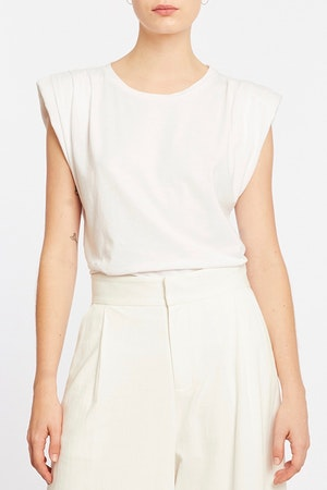 ECHO PADDED SHOULDER TEE - WHITE by St. Roche - 1