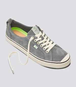 OCA Low Stripe Charcoal Grey Suede Sneaker Women by Cariuma - 2