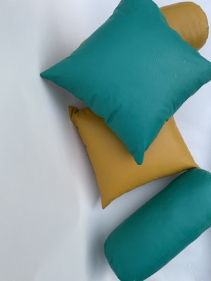 CaSa Vegan Leather Square Pillow in Mustard by Simon Miller - 3