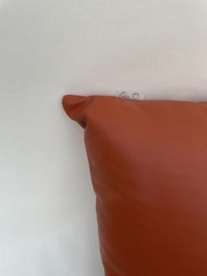 CaSa Vegan Leather Square Pillow in Squash by Simon Miller - 2